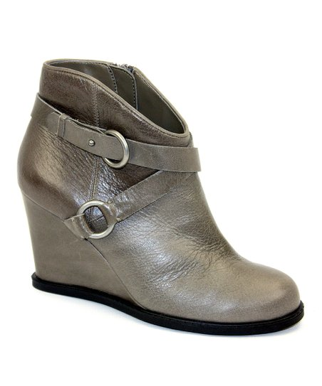 Dark Gray Leather Breanna Bootie