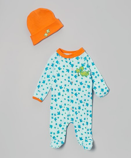 Blue & Orange Dinosaur Footie & Beanie - Infant