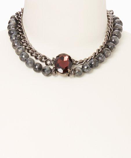 Gunmetal & Crystal Necklace