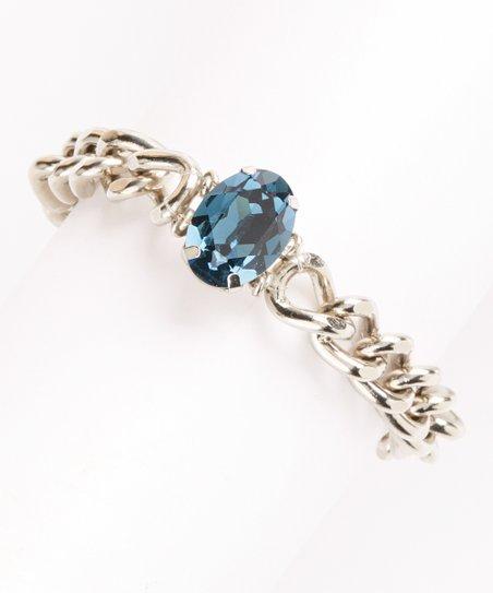 Sapphire Blue Crystal & Silver Bracelet