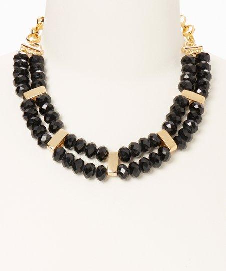 Black Crystal & Gold Bead Bib Necklace