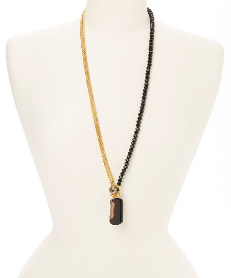 Gold & Black Bead Pendant Necklace
