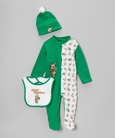 Green & White 'Merry Christmas' Footie Set - Infant