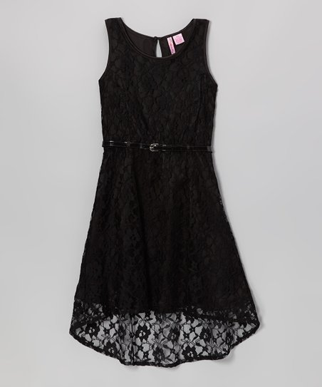 Black Lace Belted Hi-Low Dress - Girls