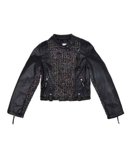 Black Faux Leather Motorcycle Jacket - Girls