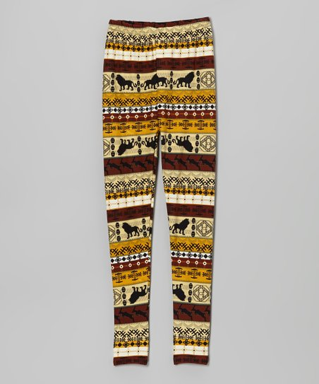 Yellow & Rust Lion Stripe Leggings – Girls