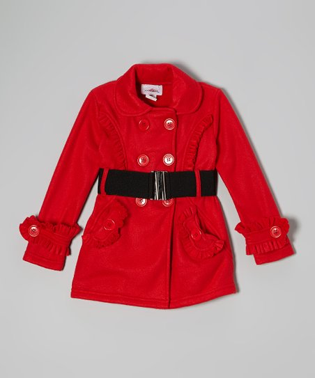 Red Belted Fleece Ruffle Coat – Toddler & Girls