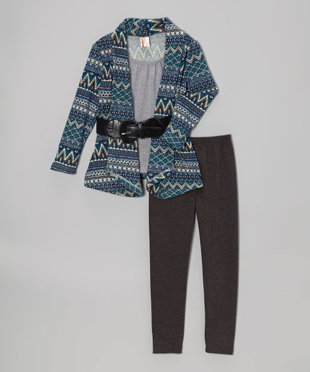 Blue & Gray Zigzag Open Cardigan Set - Girls