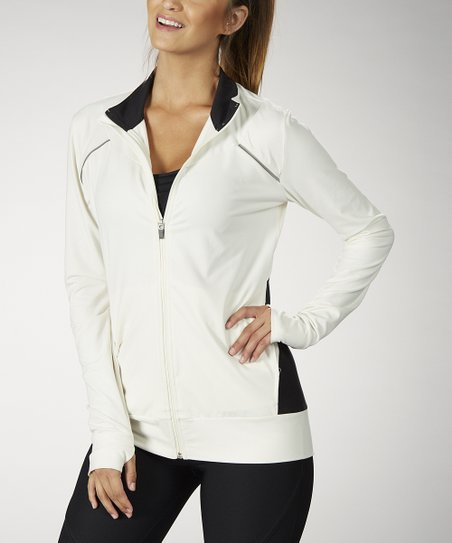 Crème & Black Blocked Track Jacket - Women