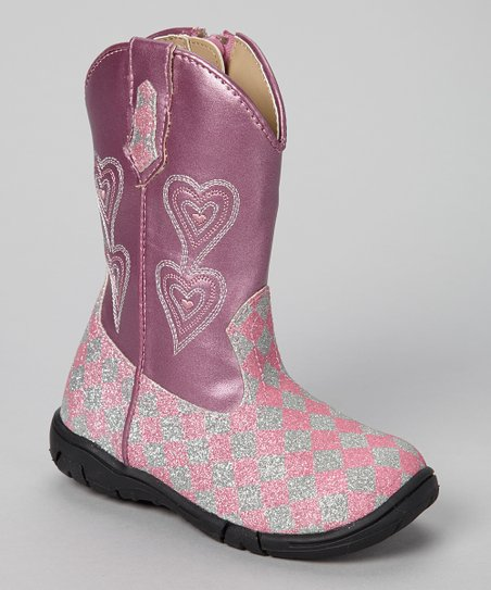 Pink & Silver Glitter Carrie Boot