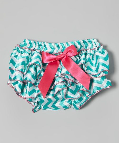 Seafoam & White Bow Zigzag Ruffle Diaper Cover - Infant & Toddler