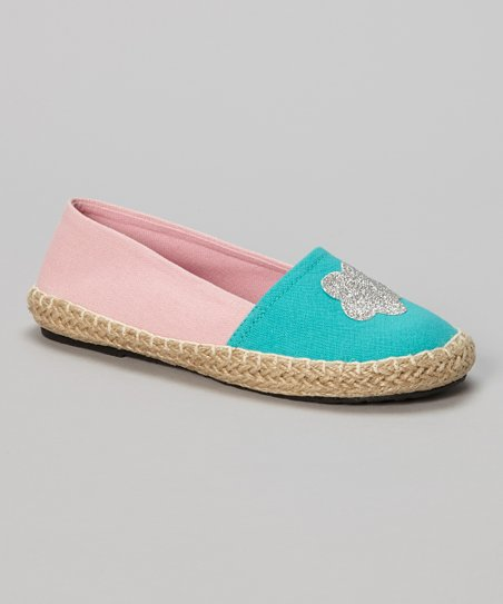 Turquoise & Light Pink Color Block Flower Flat