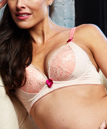 Nude & Peach Lace Sexy You Wireless Nursing Bra - Women & Plus