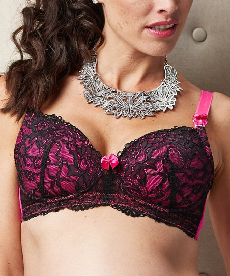 Black & Pink Bella Cerise Wireless Nursing Bra - Women & Plus