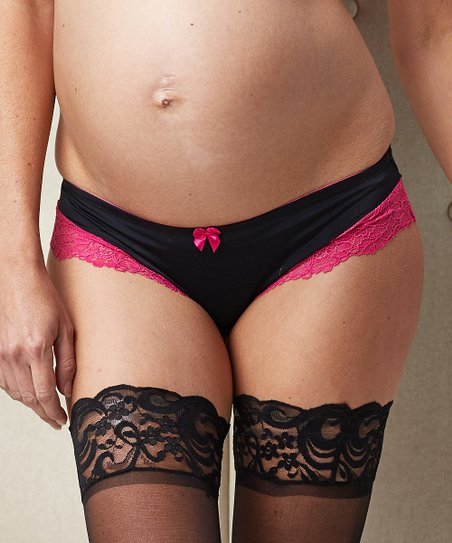 Black & Pink Bella Cerise Maternity Bikini Briefs - Women