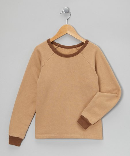 LAPSAKY Tan & Mocha Organic Sweatshirt - Toddler & Kids