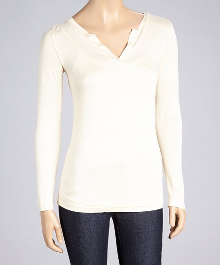 Oatmeal Long-Sleeve Split V-Neck Tee