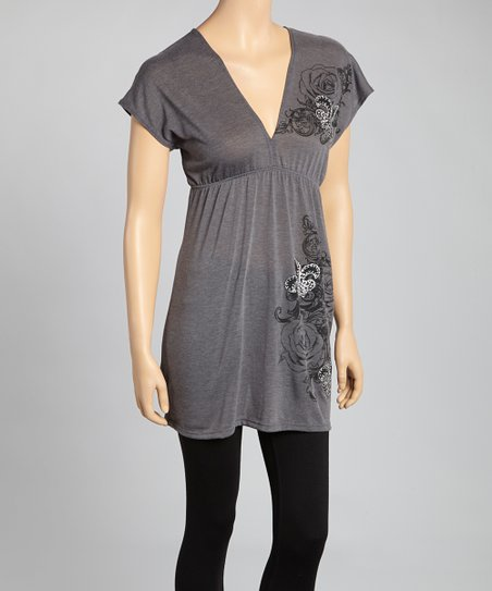 Charcoal Fleur-de-Lis Cape-Sleeve V-Neck Tunic