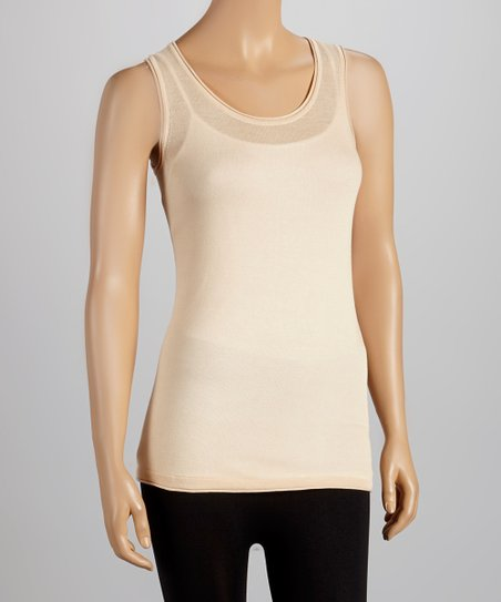Nude Semi-Sheer Knit Tank