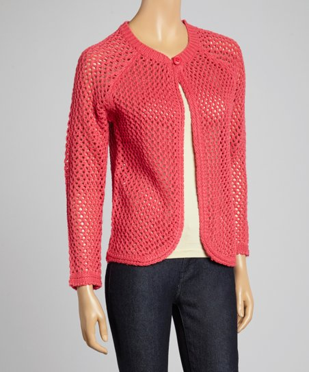 Pink Knit Mesh Single Button Cardigan - Women