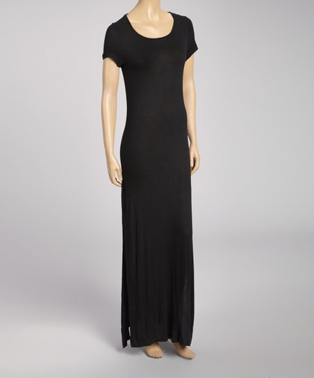 Black Keyhole Scoop Neck Maxi Dress