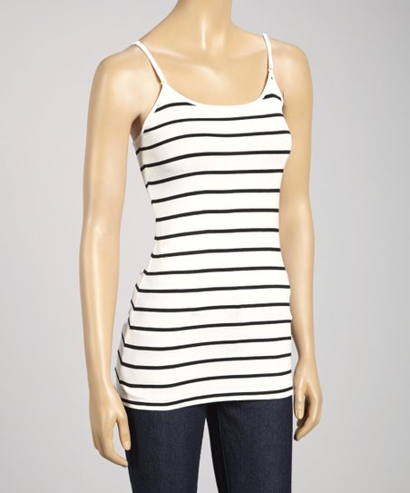 White & Black Stripe Camisole - Women