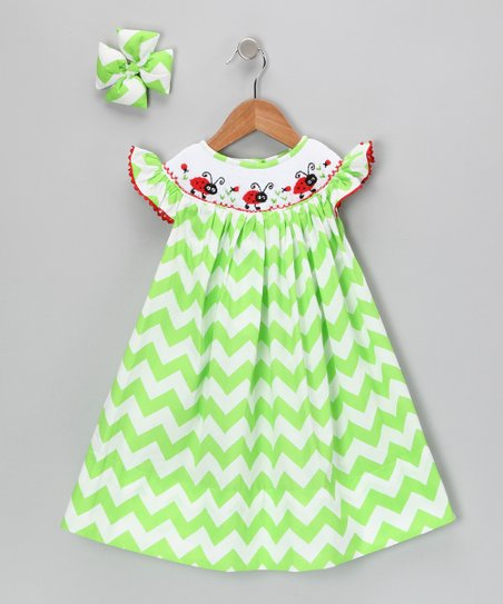 Lime Chevron Ladybug Dress & Bow - Infant, Toddler & Girls