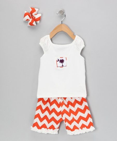 Orange Chevron Shorts Set - Infant, Toddler & Girls