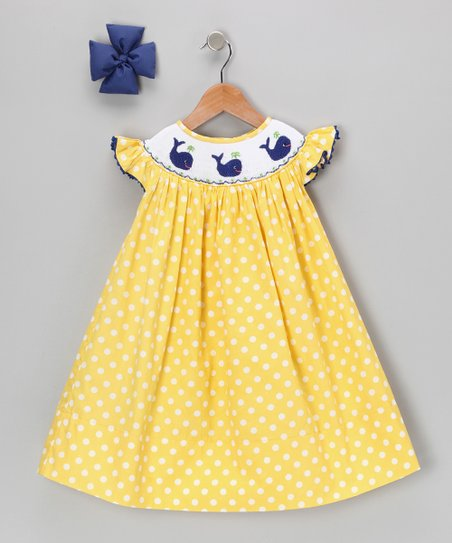 Yellow Polka Dot Whale Dress &amp; Bow - Infant, Toddler &amp; Girls
