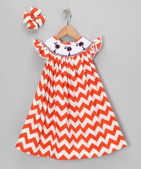 Orange Chevron Dress &amp; Clip - Infant, Toddler &amp; Girls