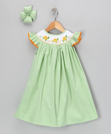 Green Sea Turtle Gingham Dress &amp; Clip - Infant, Toddler &amp; Girls