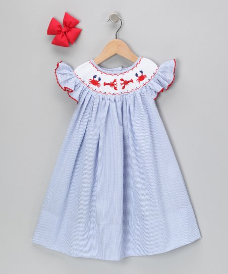 Blue Crab Stripe Seersucker Dress & Bow - Infant & Girls