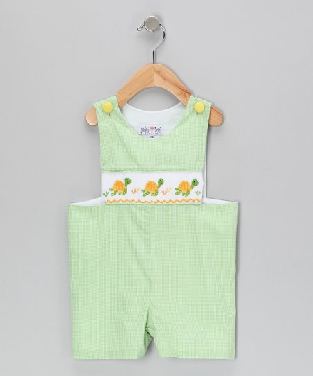 Green Gingham Sea Turtle John Johns - Toddler