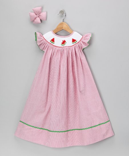 Red Watermelon Seersucker Dress & Clip - Infant