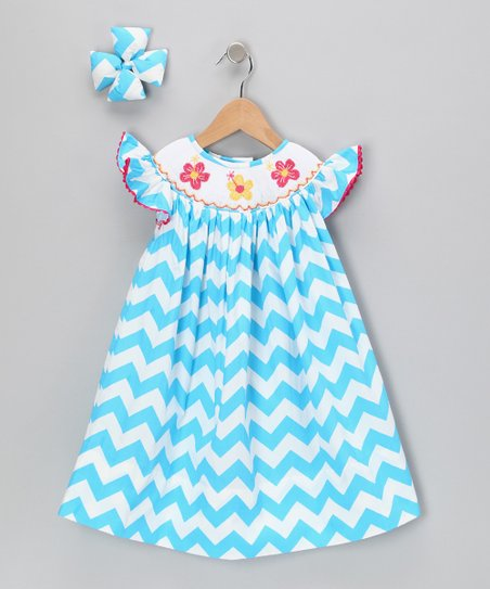 Turquoise Hibiscus Chevron Dress &amp; Clip - Infant, Toddler &amp; Girls