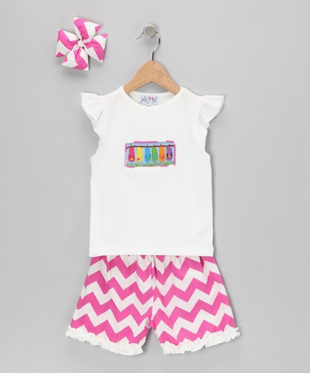 Pink Flip-Flop Chevron Shorts Set - Infant, Toddler & Girls