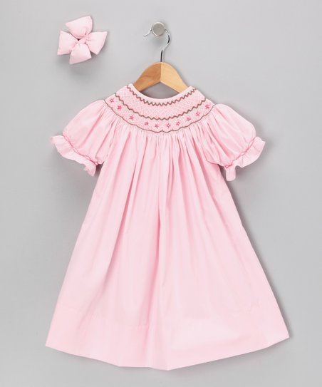 Light Pink Geometric Dress & Clip - Infant