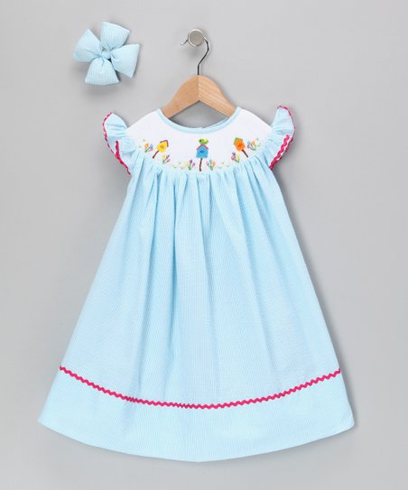 Turquoise Bird Seersucker Dress & Clip - Infant & Girls
