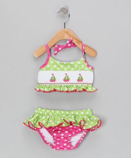 Hot Pink & Lime Sailboat Bikini - Infant