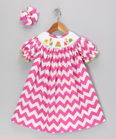 Hot Pink Birthday Chevron Dress & Clip - Infant, Toddler & Girls