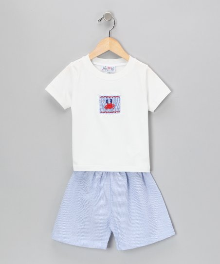 Blue Stripe Crab Tee &amp; Seersucker Shorts - Infant &amp; Toddler