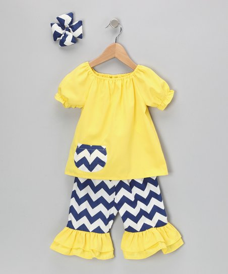 Yellow Chevron Capri Ruffle Pants Set - Infant