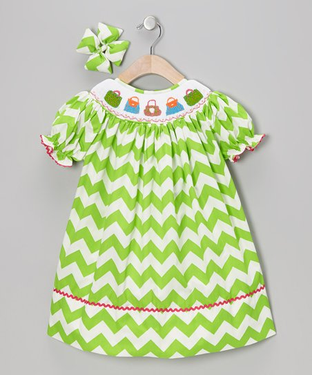 Green Purse Dress & Bow Clip - Toddler