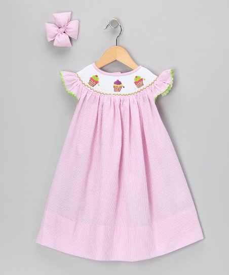Pink Ice Cream Seersucker Dress & Clip - Infant, Toddler & Girls