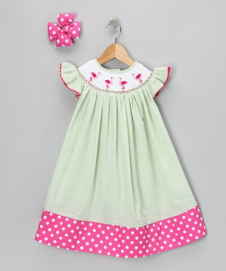 Lime Flamingo Seersucker Dress & Clip - Infant