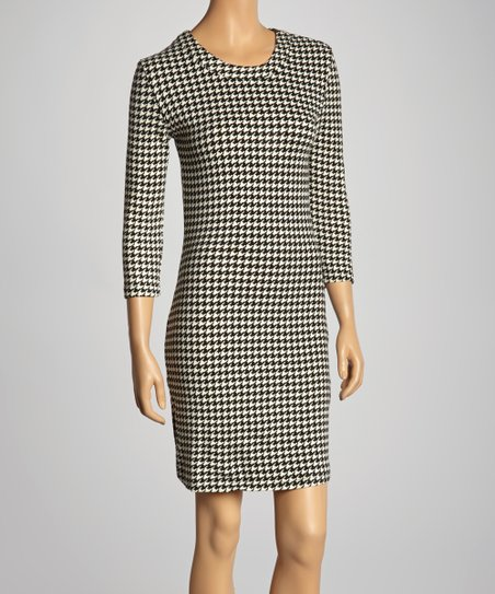 Black & White Houndstooth Shift Dress