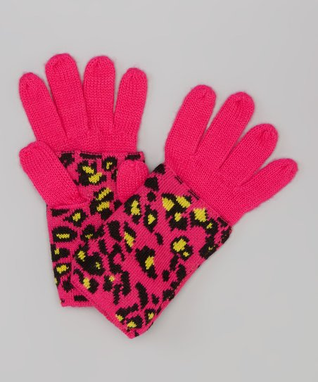 Magenta Seeing Spots Convertible Gloves