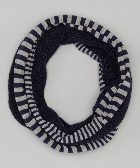 Navy Stripe Infinity Scarf