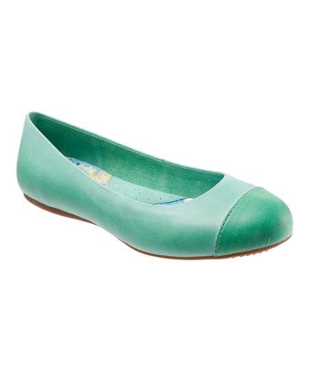 Jade Napa Leather Flat