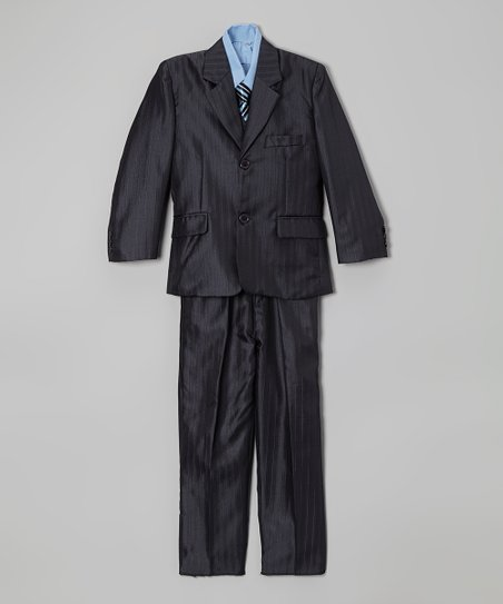 Navy Blue Stripe Five-Piece Suit - Toddler & Boys